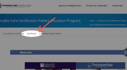 Screenshot hilighting certificate link
